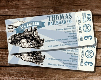Train Party Ticket Invitation - Train Ticket Invitation - Instantly Downloadable and Editable File - Personalize at home with Adobe Reader