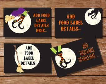 Witch Halloween Party Tent Cards, Food Labels, Buffet Cards, Food Tags, Labels - Instantly Downloadable File