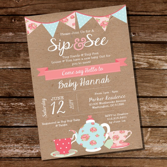 Shabby Chic Sip And See Invitation Meet The Baby Invitation