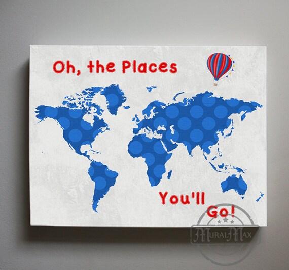 Dr Seuss Nursery Decor World Map Canvas Art Oh The Places