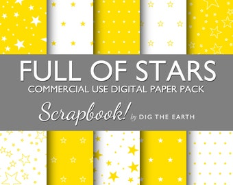 INSTANT DOWNLOAD Full Of Stars Wallpaper Digital Collage Sheets 12x12 inch Set of 10 Digital Papers Yellow Citrus Commercial Use