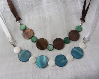SALE! Ribbon Necklace with Rivershell Circles