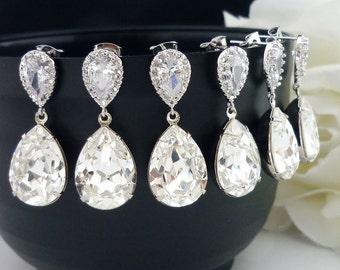 10% OFF SET of 3 Bridesmaid Gift Wedding Bridal Jewelry Bridesmaid Jewelry Clear White Swarovski Crystal Tear Drop Earrings Cz Earrings