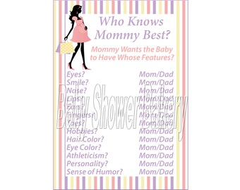 Born to Shop Theme Baby Shower Game, Who Knows Mommy Best, Shopping Baby Shower Game, Mod Mom Theme Baby Shower Printable Game, Girl Shower