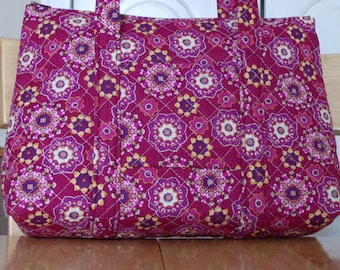 Burgundy Pink Purple White Yellow Flower Print Quilted Purse