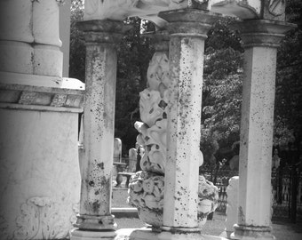 Granite monument in Holly Springs, MS, II, Fine art Photography. Black and White photography,