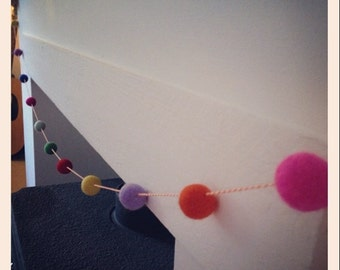 Needle felted pom pom garland bunting 2 metres long.