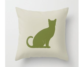 Cat Pillow, Cat Lover, Accent Throw Pillow, Housewares, Apple Green, Grey, Pink, Orange, Pillow Cover, Cat Decor, Home Decor, Animal Lover