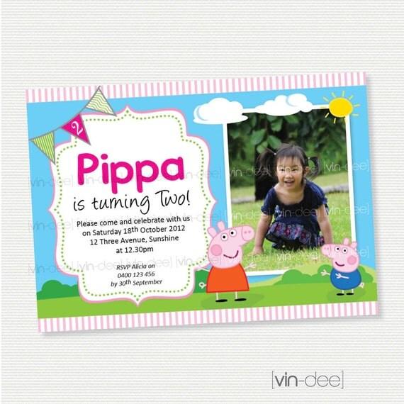Peppa Pig Birthday Invitation With Photo DIY Printable