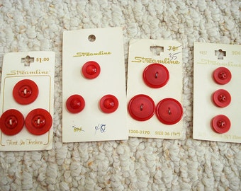 Red Vintage Button Assortment on Cards,  12 buttons