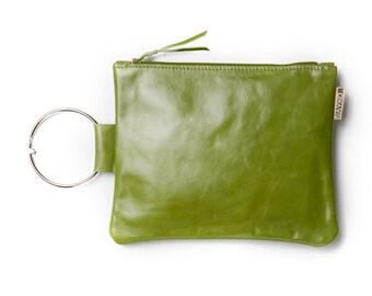 SALE 50%Off - Leather clutch bag - Olive Green purse - Leather wristlet - Evening bag - Metal ring in Nickel - Women Leather Zipper Pouch