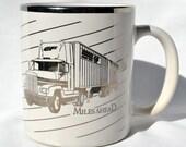Miles Ahead Silver Big Rig Vintage Mug, Semi, Tractor trailer, Eighteen-wheeler