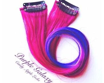 Purple Galaxy, Hair Extensions, Clip in Ombre Human Hair Extension, Dip Dye, Rainbow