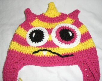 Pink and yellow Monster beanie