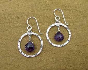 Sterling Silver Circle Amethyst Earrings
