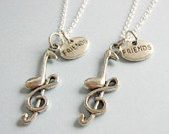 2 Best Friends Music Note Necklaces Bff
