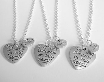3 Sisters You Are Always In My Heart  Necklaces BFF