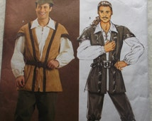 Butterick Costume Pattern B4574 Men's Pirate Costume or Robin Hood Size Small Medium and Large All 12 Pieces Hallloween Option