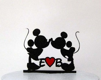 Personalized Wedding Cake Topper - Mickey and Minnie Wedding silhouette with your initials and a Red Heart