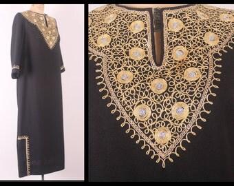 1960's Kaftan Dress // Black & Gold Embellished Kaftan // Vintage Maxi Dress  (large - XL)