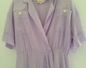 Vintage women's light purple polka dots dress size medium large