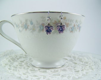 Pansy Earrings, Purple Pansies, Flower Earrings, Enameled Flower Earrings, Crystal Pansy, Pansy Drops, Cloisonne Pansy