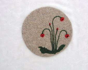 Wool Felted hotpad/trivet with needle felted Red Poppy Design