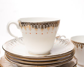 Stanley Fine Bone China Tea Cups Saucers and Crumpet Plates