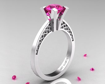 Modern Armenian 14K White Gold Lace 1.0 Ct Pink Sapphire Solitaire Engagement Ring R308-14KWGPS