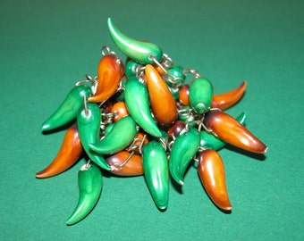 Vintage Green and Red Pepper Brooch