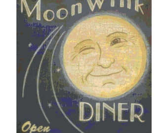 Vintage Moon Wink Diner Art PDF Handmade Cross-Stitch Pattern