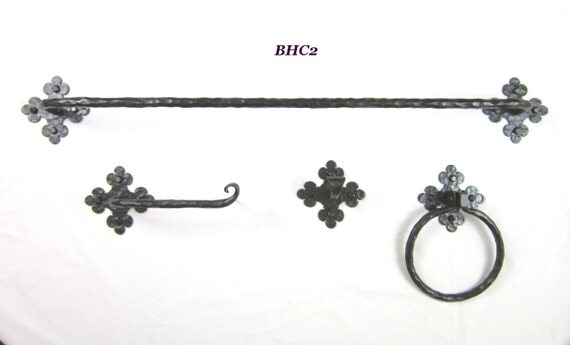 Bhc rustic spanish style wrought iron bathroom hardware combo set from bushereironstudio on etsy for Wrought iron bathroom hardware