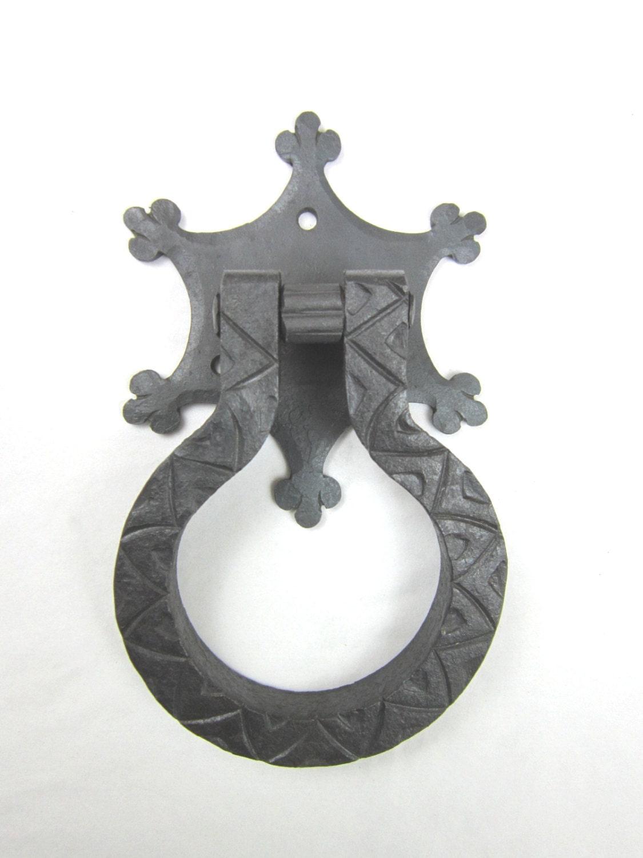 Spanish Style Hand Forged Wrought Iron Door Knocker