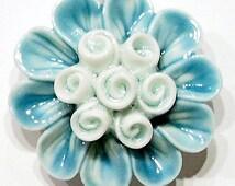 Hand Painted Aqua Flower Cluster Beautiful Porcelain Pendant, Large Gorgeous