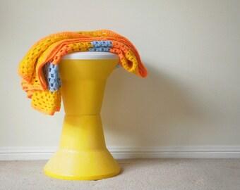 Vintage Crochet Blanket. Handmade Crochet Blanket.Retro Vintage Afghan Blanket.Orange, Yellow Vintage Crochet Lap Blanket