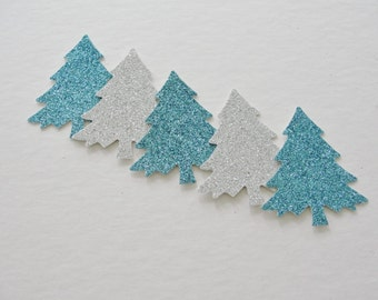 Christmas Decor, Christmas Tree Die Cut, Holiday Gift Tags, Teal and Silver Glitter Paper Cut Outs, Holiday Decorations Tags Decor Set of 12