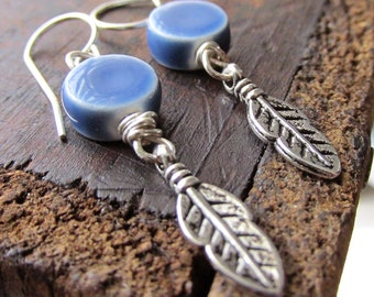 Clear Skies // earrings. Dark Blue ceramic tile beads with tiny antique silver feathers. ss earwires. hippie boho, american indian jewelry