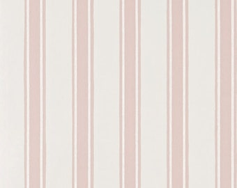 Farrow and Ball, Pink Block Print Stripe, Handmade in England