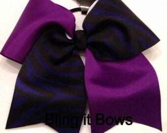 Cheer Bow Purple Black Zebra 3 Inch