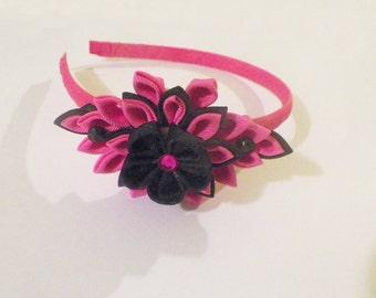 Kanzashi flower Headband in Hot pink and Black