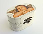 FREE SHIPPING, Wedding antique white ring bearer box / pillow with angel, Wooden ring bearer box, Pillow alternative, Wedding keepsake box