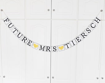 FREE SHIPPING, Future Mrs...customize your name banner, Bridal shower decoration, Bachelorette party decor, Engagement party decoration,Gold