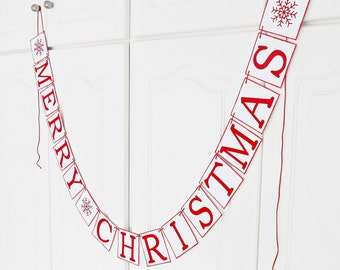 FREE SHIPPING, Merry Christmas banner, Holiday decoration, Merry Christmas garland, Holiday photo prop banner, Red and white, Snowflake