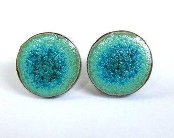 post earrings, ceraqmic, handmade, lazure, blue,  turquoise, small earrings, round, nicel free, hypo allergy earrings