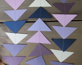 Paper Garland Paper Triangles Lilac Blue and Cream Wedding Decor 7 Feet