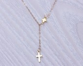 "Cross lariat necklace, gold lariat necklace, tiny cross necklace, 14k gold filled jewelry, protection necklace, best friend gift, ""Meliades"""