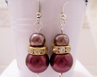 Burgundy and brown pearl earrings - burgundy and brown pearl beaded earrings - Swarovski banded earrings - burgundy earrings