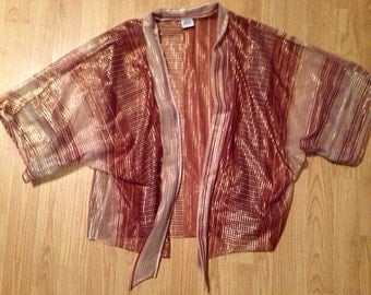 Vintage 70's Spare Parts California Sheer Shimmery Lurex Kimono Jacket S/M