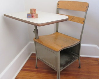 "Vintage School Desk Metal - Adult Sized 17"" , Large Quantity"