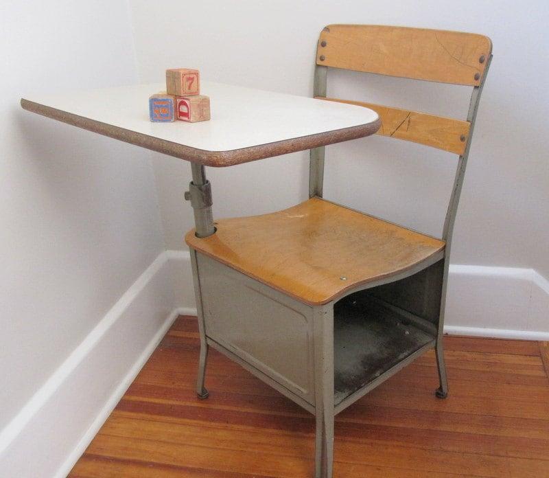 Vintage School Desk Metal Adult Sized 17 Large